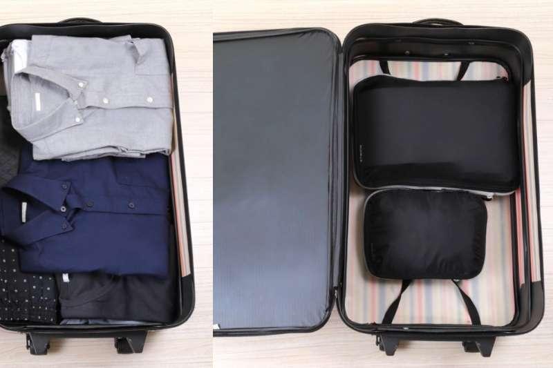 由新加坡公司「Travelab」開發的衣物壓縮袋是旅遊的超級良伴!幫你省下大量行李箱空間,塞更多紀念品跟土產!(圖/翻攝自 Makuake,智慧機器人網提供 )
