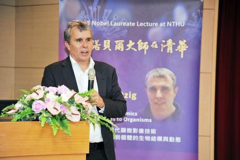 2014年諾貝爾化學獎得主艾瑞克.貝齊格(Eric Betzig)19日應邀擔任「諾貝爾大師在清華」講座主講人。(圖/清華大學提供)
