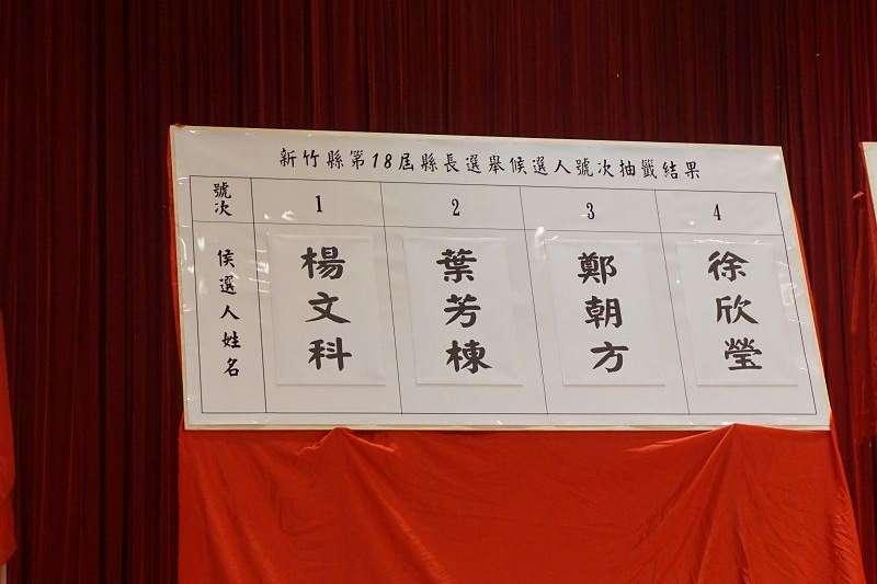 新竹縣選委會公布四位縣長候選人抽籤號次。(圖/新竹縣政府提供)