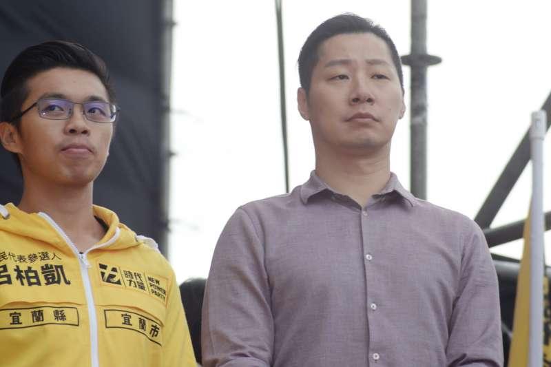 20181020-喜樂島聯盟今(20)日在台北舉行「全民公投反併吞」活動,時代力量黨立委林昶佐到場參加。(甘岱民攝)
