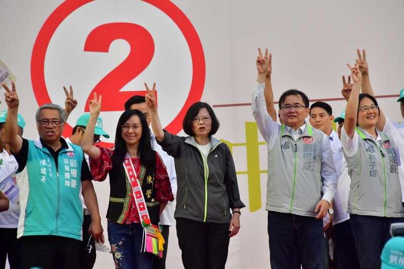 蔡英文總統20日出席民進黨台東縣長候選人劉櫂豪總部成立活動。(民進黨中央提供)