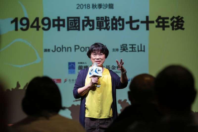 20181020-龍應台基金會董事長龍應台20日出席思沙龍「1949中國內戰的七十年後」專題講座。(顏麟宇攝)