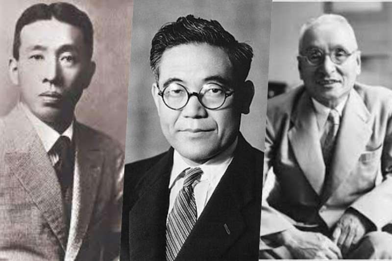 日本的企業家,在戰後撐起日本經濟的重擔。左起為三得利創始人鳥井信治郎、豐田汽車創始人豐田喜一郎、出光興業石油公司創始人出光佐三。(圖/想想論壇,風傳媒合成)