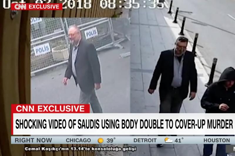 CNN公布暗殺成員穿著哈紹吉生前服裝,在伊斯坦堡街頭亂晃的影片。(翻攝Youtube)