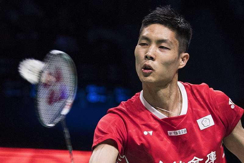 中華台北羽球男單選手周天成,丹麥公開賽。(美聯社)