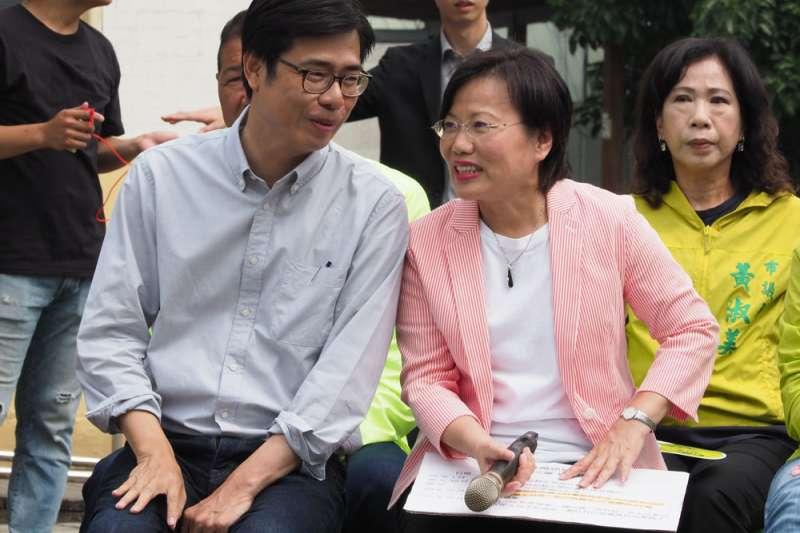 劉世芳(右)擔任陳其邁(左)競選總幹事召集人,陳菊系統全面進駐。(林瑞慶攝)