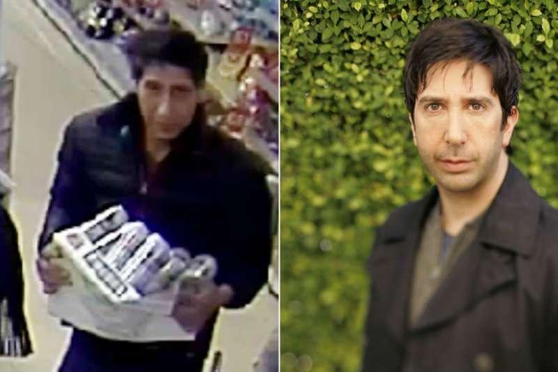 左邊是警方提供的嫌疑人照片,右面是演員大衛·史威默,相似度幾何?(BBC中文網)