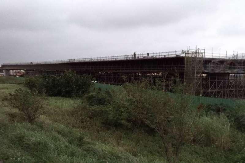 20181023-淡江大橋施工。(閻紀宇攝)