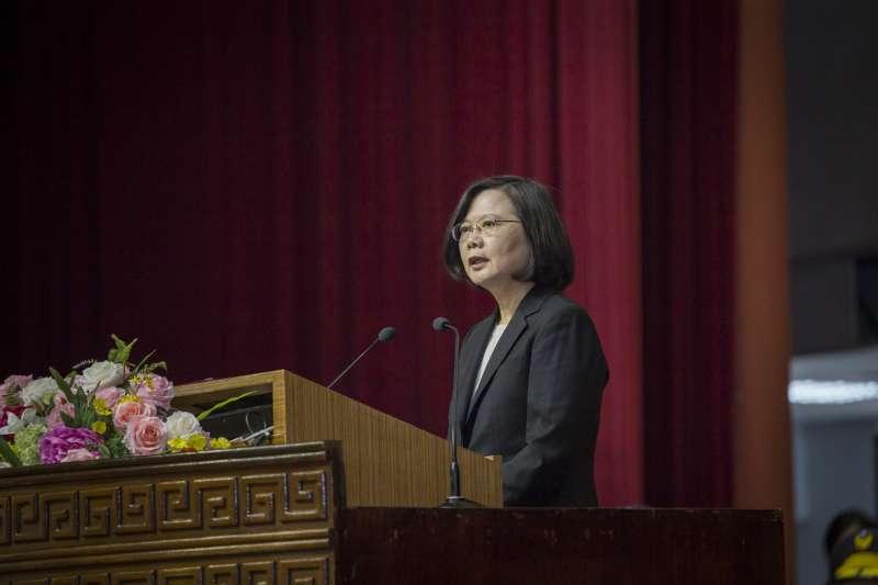 總統蔡英文27日上午出席「台灣警察專科學校73周年校慶大會」,特別對警消、海巡弟兄致謝。(取自總統府)