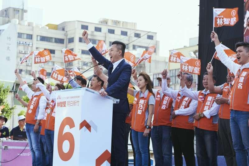 20181027-民進黨新竹市長候選人林智堅27日舉行競選總部成立大會,推出6大幸福政策。(民進黨提供)