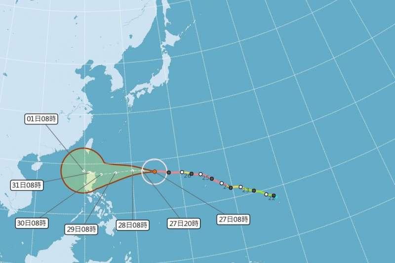20181027-颱風玉兔27日凌晨1時的中心位置距離鵝鑾鼻東南東方約1860公里的海面上,正向西移動。(取自中央氣象局網站)