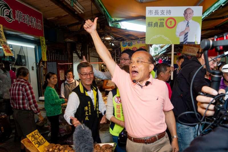 國民黨高雄市長候選人韓國瑜提出要禁止所有政治抗議,民進黨新北市長候選人蘇貞昌表示「真的讓我很驚訝」。(資料照,蘇貞昌辦公室提供)