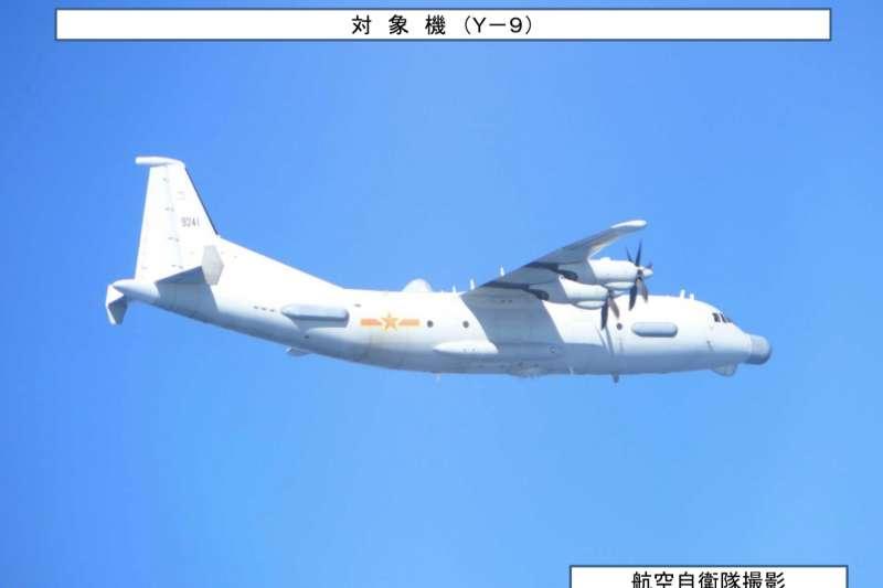 中國軍機運-9飛越對馬海峽上空,引發日韓兩國關注。(統合幕僚監部官網)