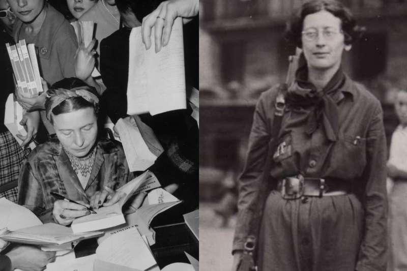圖為兩位性格不一樣但受人敬佩的女性:正幫書迷簽名的西蒙•波娃(Simone de Beauvoir)與加入西班牙內戰時工運份子的抵抗勢力的西蒙•維爾(Simone Weil)。(作者提供)