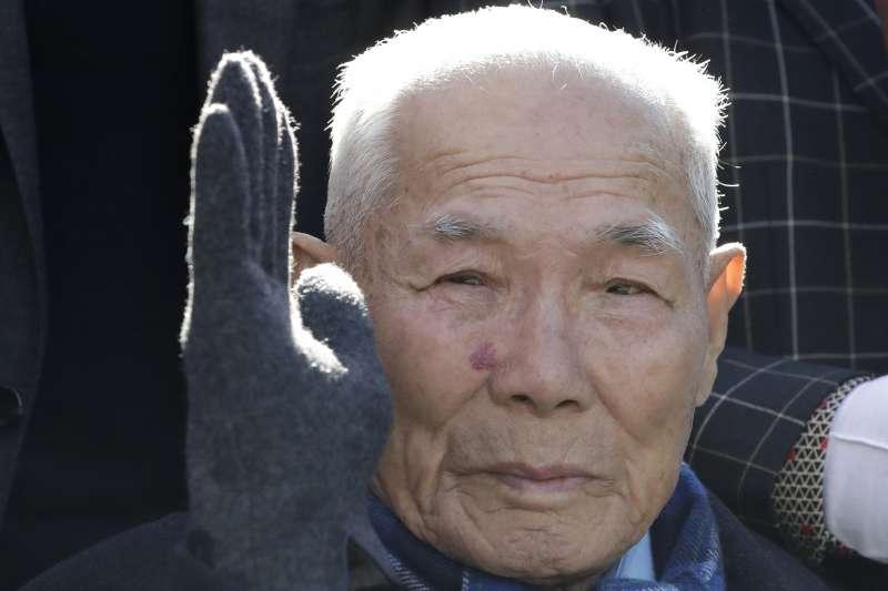 南韓94歲老人李春希在二戰期間,遭到日本「新日鐵住金」公司強迫勞動(美聯社)
