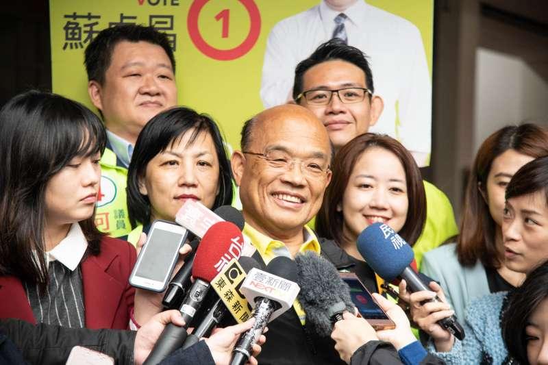 民進黨新北市長候選人蘇貞昌31日受訪時表示,若是今天就不會任用侯友宜擔任警政署長。(蘇貞昌辦公室提供)