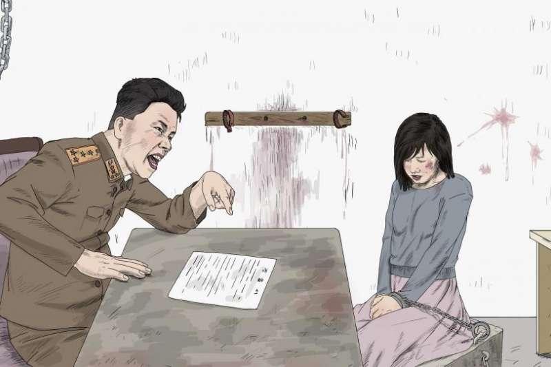 人權觀察組織所繪製的北韓官員審問女性想像圖。