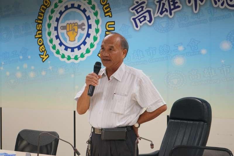 國民黨高雄市長候選人韓國瑜參加高雄市總工會餐會,並影射該會理事長林明章立場一事, 林明章堅表達力挺陳其邁。(陳其邁辦公室提供)