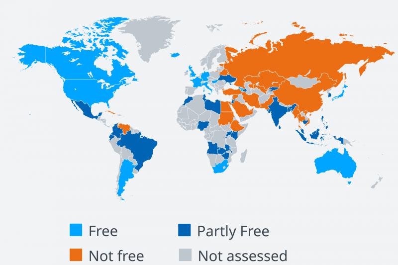 2018年網路自由報告:65個受調查國家的自由度狀況。(德國之聲)