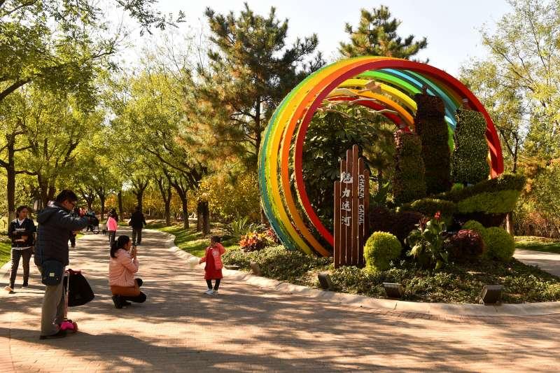 10月27日,遊客在北京通州大運河森林公園遊玩。(新華社)