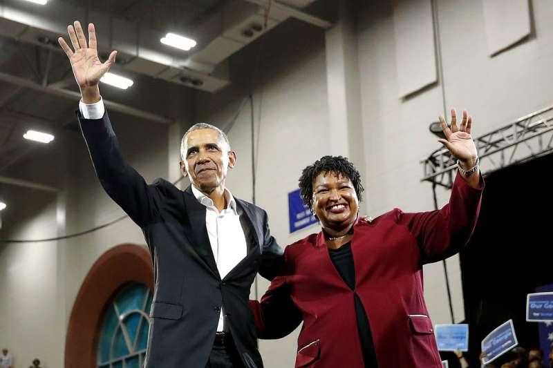 2018美國期中選舉、喬治亞州民主黨候選人艾布蘭、美國前總統歐巴馬。(AP)