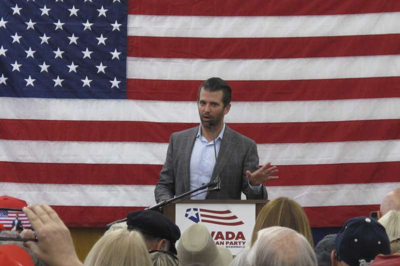 美國總統川普長子小唐納德出席共和黨候選人造勢活動(AP)