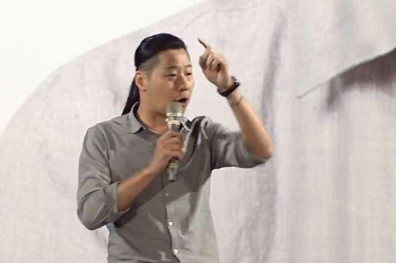 時代力量立委林昶佐4日晚間為民進黨高雄市長候選人陳其邁站台。(直播截圖)