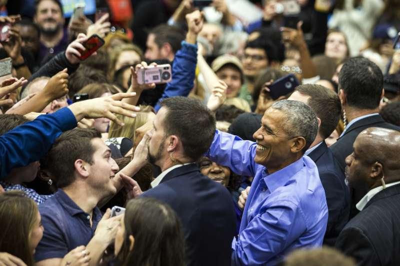 2018美國期中選舉超級星期天,前總統歐巴馬宣傳造勢。(美聯社)