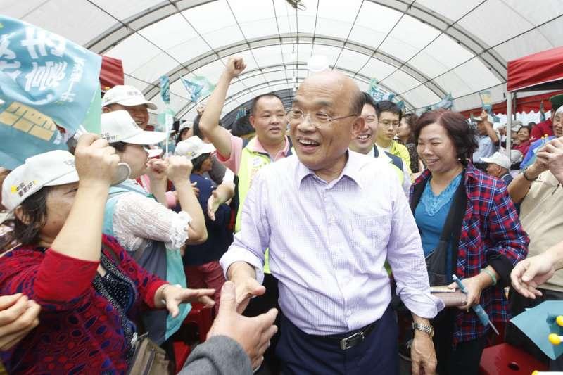 蘇貞昌投入新北選戰後,掃街的陸軍戰從未停過。(郭晉瑋攝)