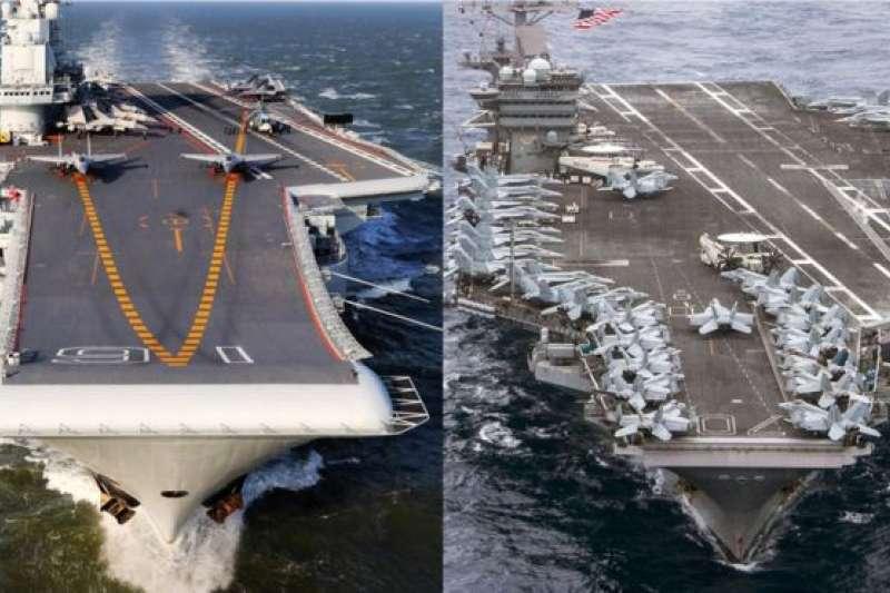 中國的「遼寧號」(左)和美國的「卡爾文森」號航母(右)。專家認為,中美在南海互不相讓,未來發生實質性摩擦的可能性很大(BBC中文網)