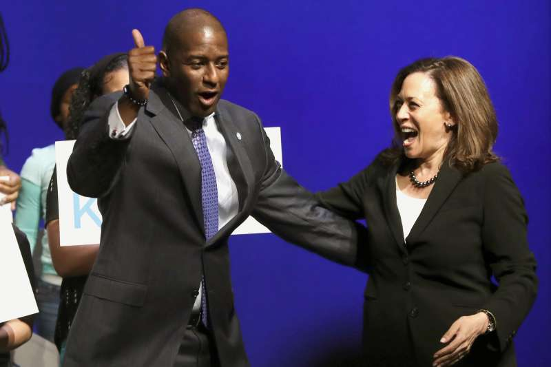 加州聯邦參議員賀錦麗(Kamala Harris)與佛羅里達州長候選人吉倫(Andrew Gillum)(AP)
