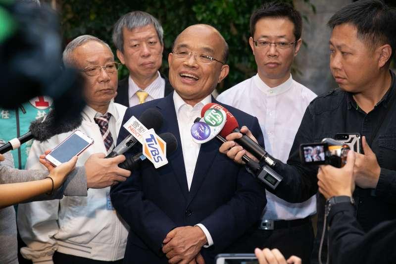 民進黨新北市長候選人蘇貞昌8日接受媒體訪問。(周思宇攝)