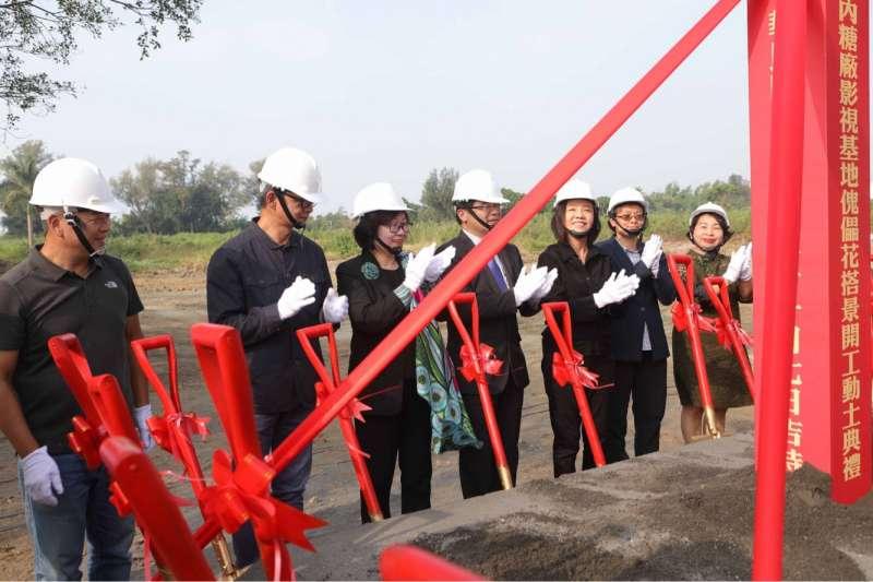 公視歷史戲劇《傀儡花》,7日正式與文化部、南市府、台糖合作,於台南舉辦搭景動土典禮。(公視提供)