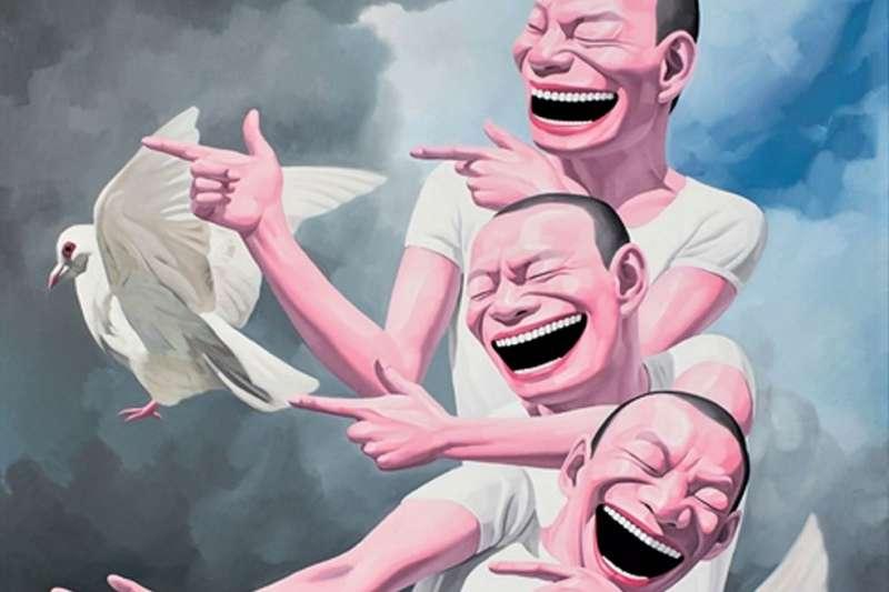 「大笑男子」是岳敏君作品的招牌特色,對此他曾解釋「笑臉是一種隱蔽的政治批判,這個社會裡,人被迫要戴上面具表示對一切都很滿意」。(圖/artnet,城市美學新態度提供)