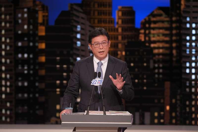 20181110-由公視舉辦台北市長電視辯論10日登場,民進黨候選人姚文智進行申論。(公視提供)