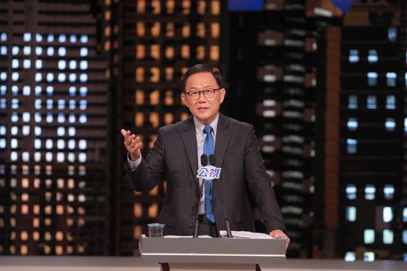 20181110-由公視舉辦台北市長電視辯論10日登場,國民黨候選人丁守中進行申論。(公視提供)