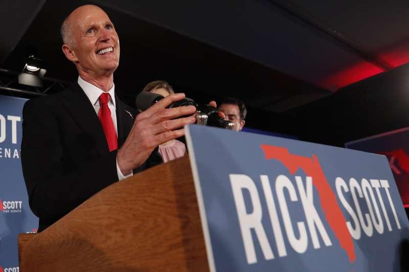 美國佛羅里達州重新計票:角逐聯邦參議員席次的共和黨籍前州長史考特(AP)