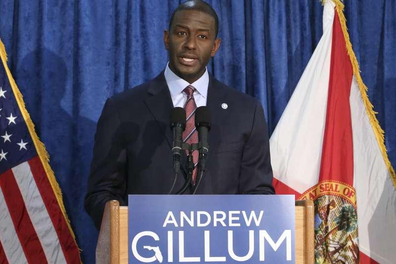 美國佛羅里達州重新計票:可望成為該州首位非裔州長的民主黨候選人吉倫(AP)