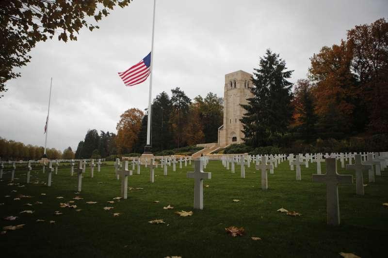 位於巴黎東北方80公里處貝勒森林的「埃納-馬恩美國陣亡將士公墓和紀念園地」,等不到美國總統出席典禮。(美聯社)