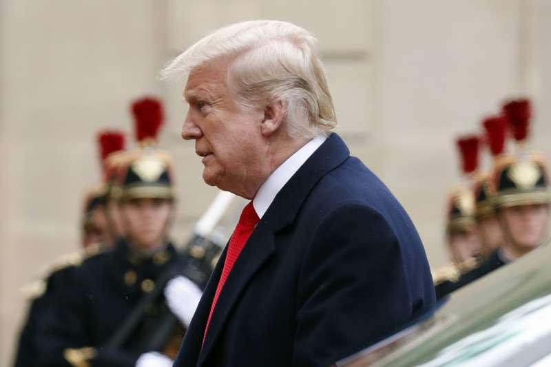 2018年11月11日,一戰終戰百年紀念大典,美國總統川普與會(AP)