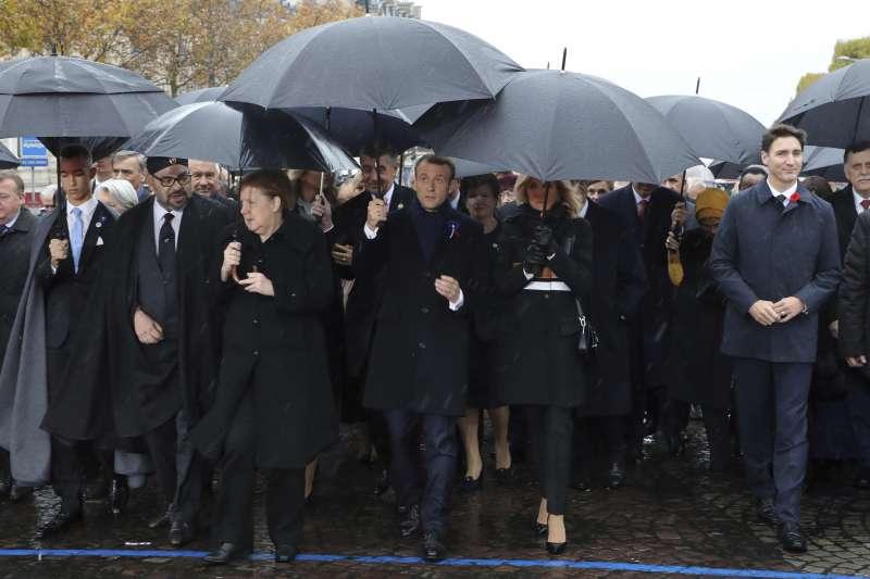 2018年11月11日,一戰終戰百年紀念大典,各國領導人與會(AP)