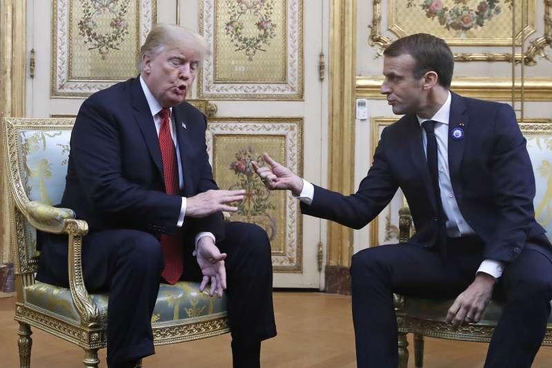 2018年11月10日,美國總統川普訪問法國,會見法國總統馬克宏(AP)