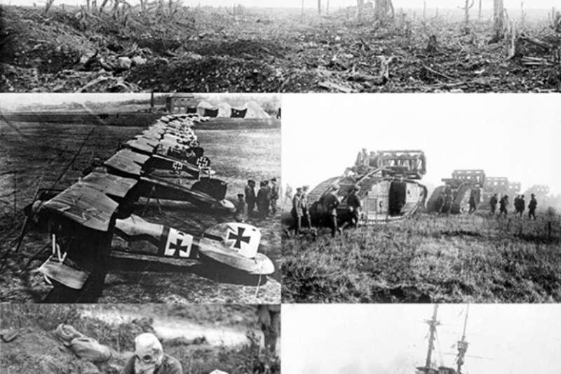 第一次世界大戰是人類史上首次大規模使用毀滅性武器。圖為1914年一戰士兵作戰情況,順時針方向從最上方起:西線戰壕、英軍的坦克穿越戰壕、在加里波利之戰被水雷擊沉的皇家海軍戰列艦、配戴防毒面具使用機槍的軍隊、信天翁D.III雙翼戰鬥機。(圖取自維基共享資源,版權屬公有領域)