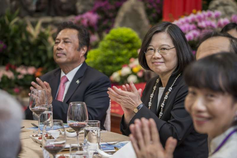 2018年11月12日,蔡英文總統以國宴宴請帛琉共和國雷蒙傑索總統(總統府)