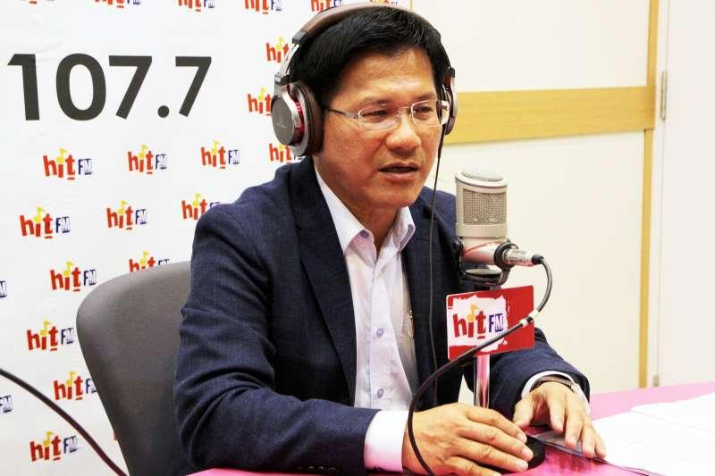 台中市長林佳龍14日上午接受《蔻蔻早餐》廣播專訪。(Hit Fm《蔻蔻早餐》製作單位提供)