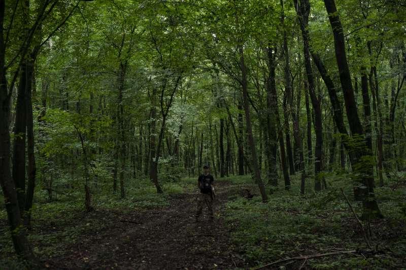 烏克蘭極右派團體舉辦青少年戰鬥營,訓練他們對抗俄羅斯軍人和分離主義者,訓練地點位於隱密的森林中。(美聯社)