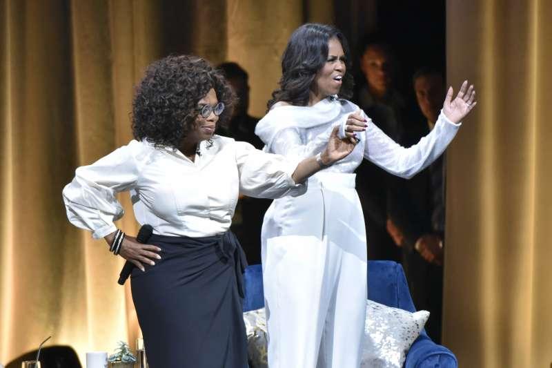 美國前第一夫人蜜雪兒.歐巴馬(Michelle Obama)接受歐普拉(Winfrey Oprah)專訪(AP)