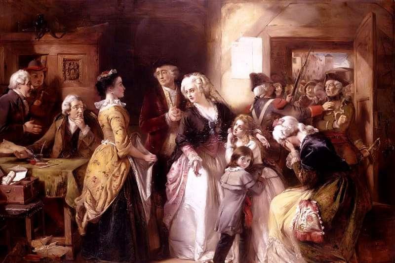 法國國王路易十六、王后瑪麗.安東妮(Marie Antoinette)一家人1792年8月遭到逮捕(Wikipedia / Public Domain)