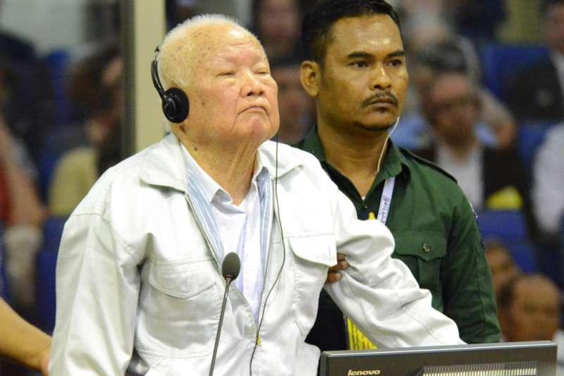 2018年11月16日,前「赤柬」(Khmer Rouge)高官喬森潘(Khieu Samphan)。(AP)