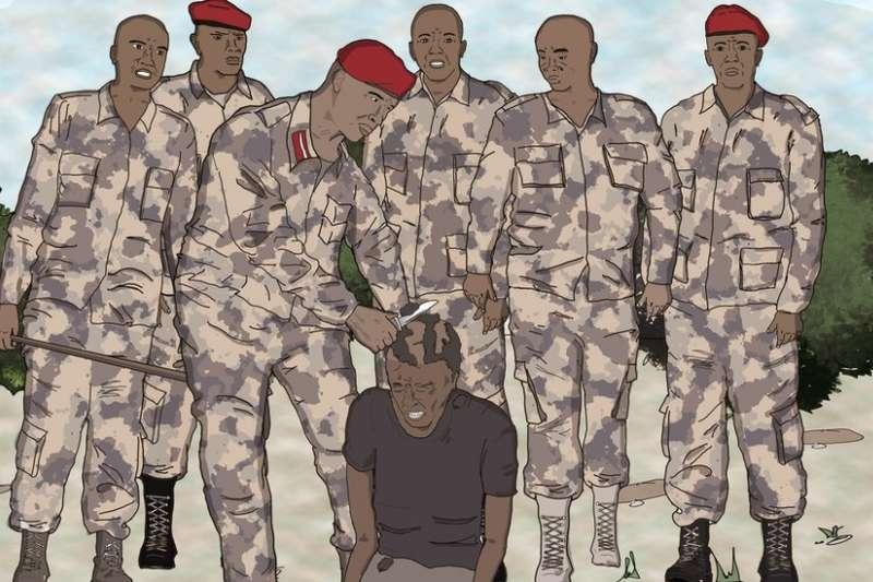 蘇丹首都喀土穆貧困地區的年輕男子,他們的爆炸頭髮型被前金戈威德(Janjaweed)騎兵隊的武裝人員剃光。(BBC中文網)